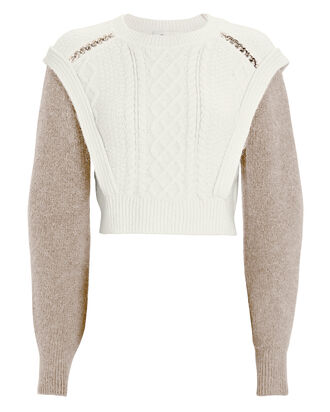 Two-Tone Cable Knit Sweater, IVORY/BROWN, hi-res