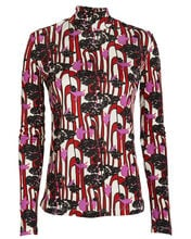 Printed Jersey Turtleneck Top, PINK/ABSTRACT PRINT, hi-res