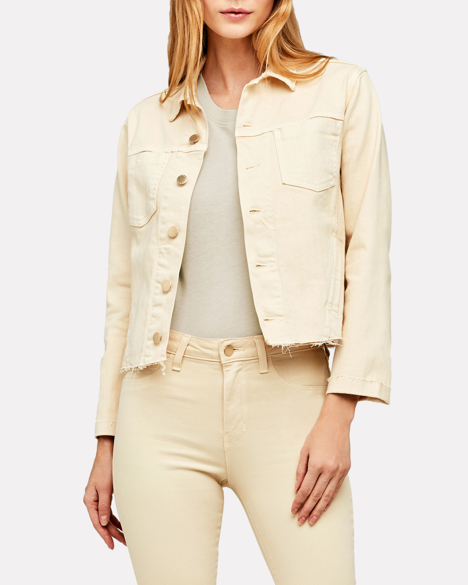 Janelle Cropped Denim Jacket, COCONUT, hi-res