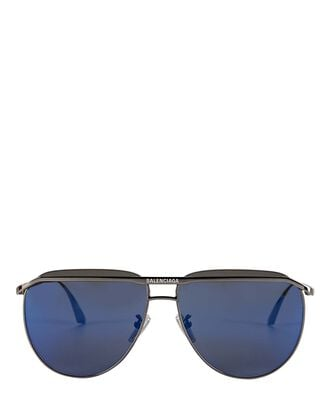 Oversized Logo Aviator Sunglasses, BLUE-DRK, hi-res