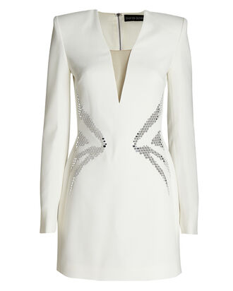 Embellished Cady Mini Dress, WHITE, hi-res