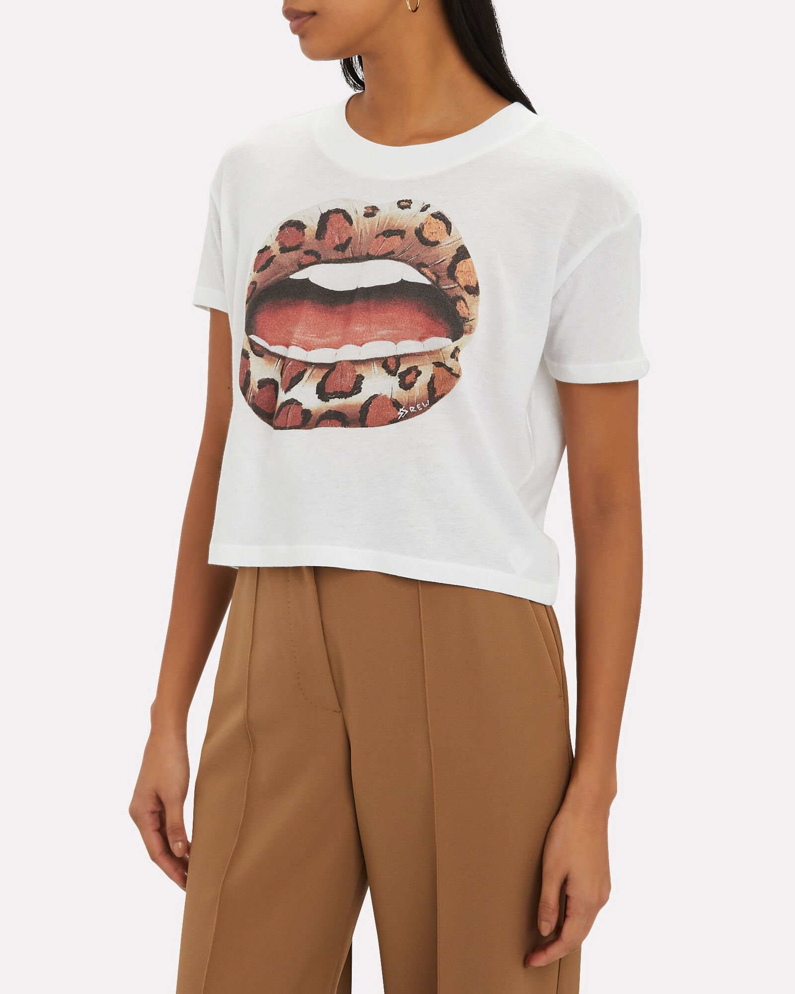 Cropped Lips Graphic T-Shirt, WHITE, hi-res