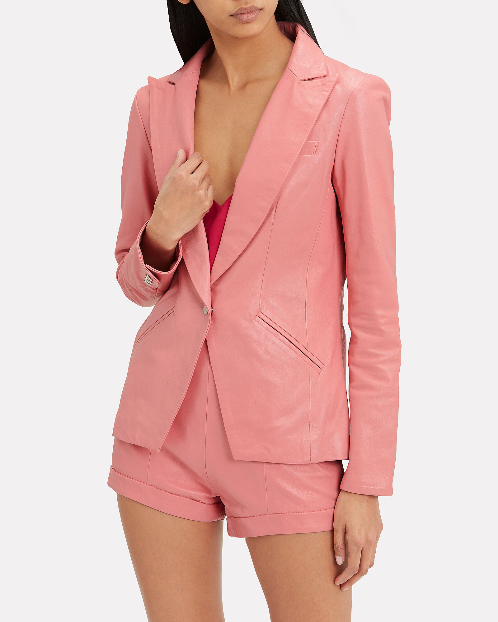 The Coventry Leather Blazer, PINK, hi-res