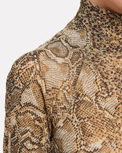 Madi Mesh Jersey Turtleneck, BROWN SNAKESKIN PRINT, hi-res