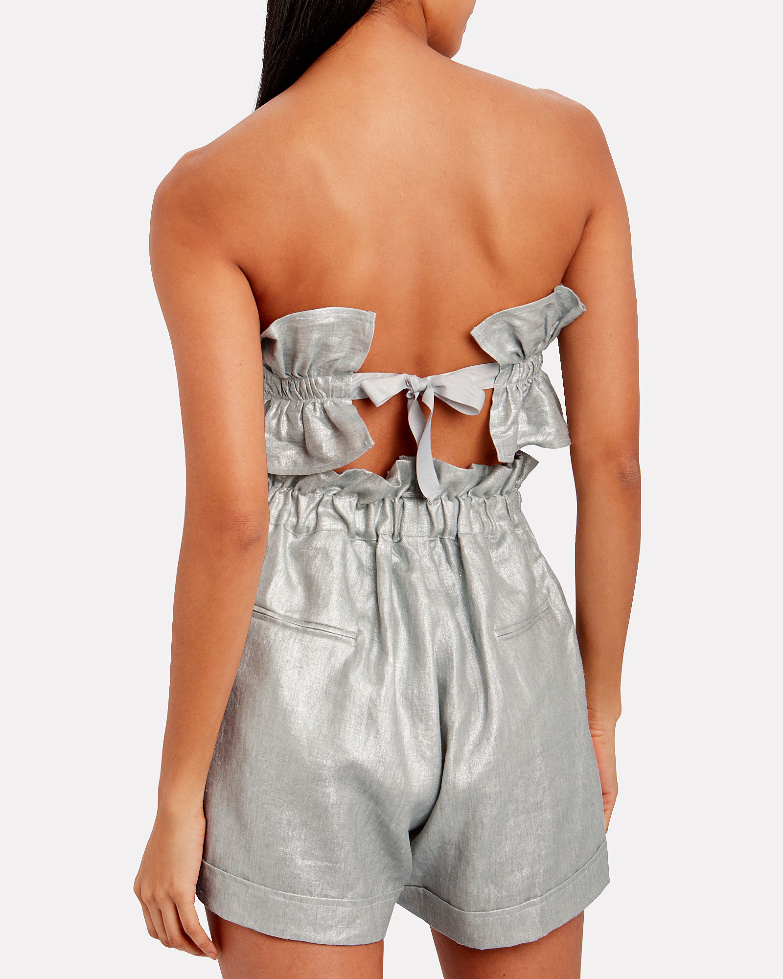 Operato Pleated Linen Bustier, SILVER, hi-res