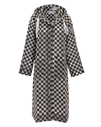 Checkerboard Anorak Raincoat, BLK/WHT, hi-res