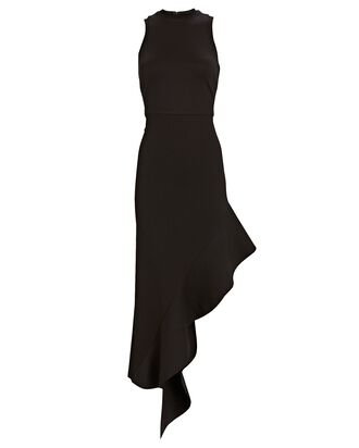 Adva Asymmetrical Midi Dress, BLACK, hi-res