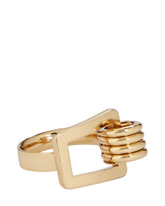 Karo Twisted Square Ring, GOLD, hi-res