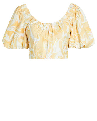 Carrie Puff Sleeve Crop Top, YELLOW/WHITE, hi-res