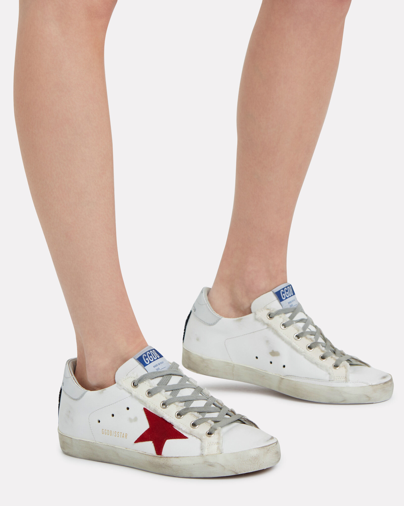 Superstar Leather Low-Top Sneakers, WHITE/RED, hi-res