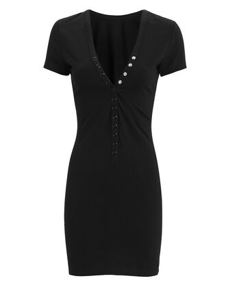 Snap Button Jersey Dress, BLACK, hi-res