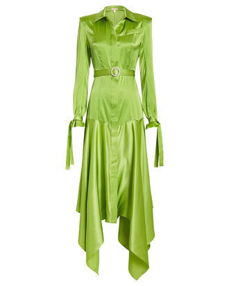 Belted Silk Shirt Dress, NEON GREEN, hi-res