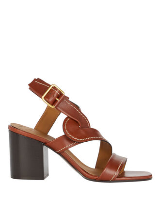 Candice Leather Sandals, COGNAC, hi-res