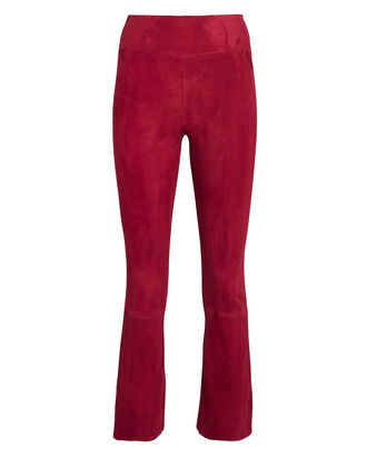 Kick Flare Suede Leggings, RED, hi-res