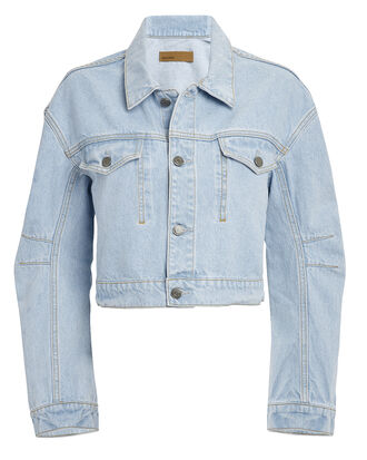 Lacy Cropped Denim Jacket, LIGHT BLUE DENIM, hi-res
