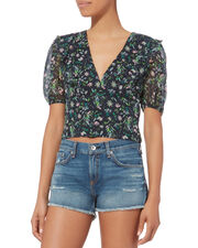 Ruffle Printed Crop Top, NAVY, hi-res