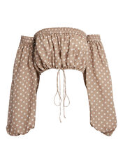 Rosaline Silk Polka Dot Crop Top, BROWN/POLKA DOTS, hi-res