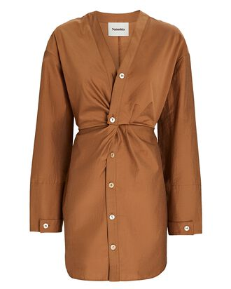 Johanna Poplin Button-Down Dress, BROWN, hi-res