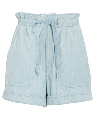 Marius Tie-Waist Chambray Shorts, BLUE-LT, hi-res