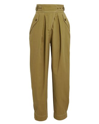 Dune Cropped Cotton Twill Trousers, GREEN, hi-res