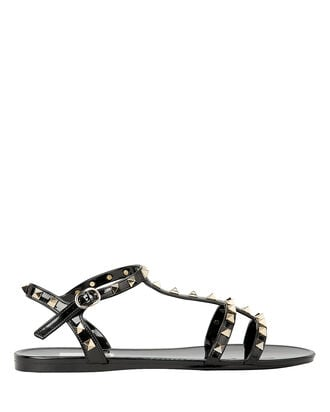 Rockstud Gladiator Flat Jelly Sandals, BLACK, hi-res