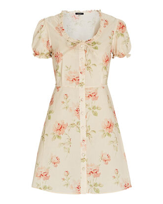 Floral Puff Sleeve Mini Shirt Dress, CREAM, hi-res