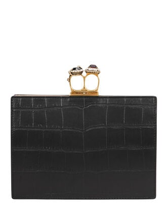 Double Ring Croc-Embossed Flat Pouch, BLACK, hi-res