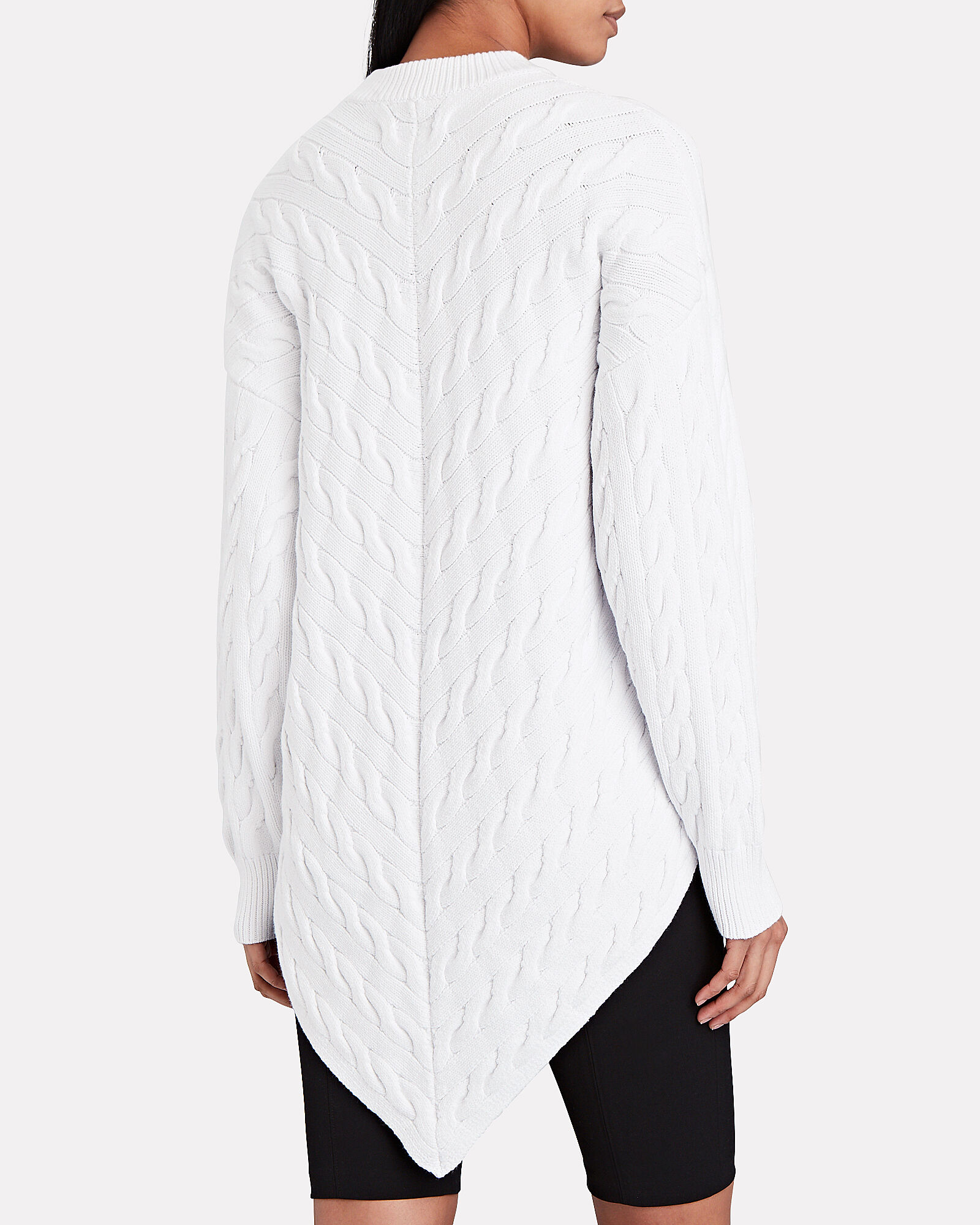 Bias Cable Knit Sweater, WHITE, hi-res