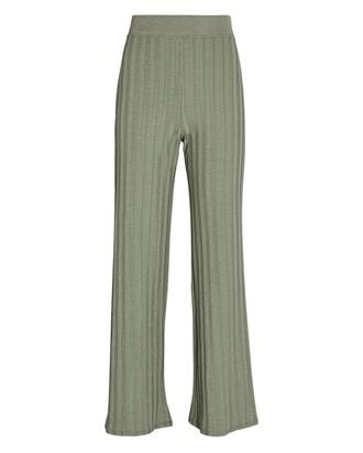 Celia Rib Knit Wide-Leg Pants, GREEN, hi-res