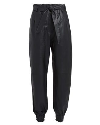 Houdini Leather High-Rise Trousers, NAVY, hi-res