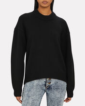 Zipper-Accented Wool Sweater, BLACK, hi-res