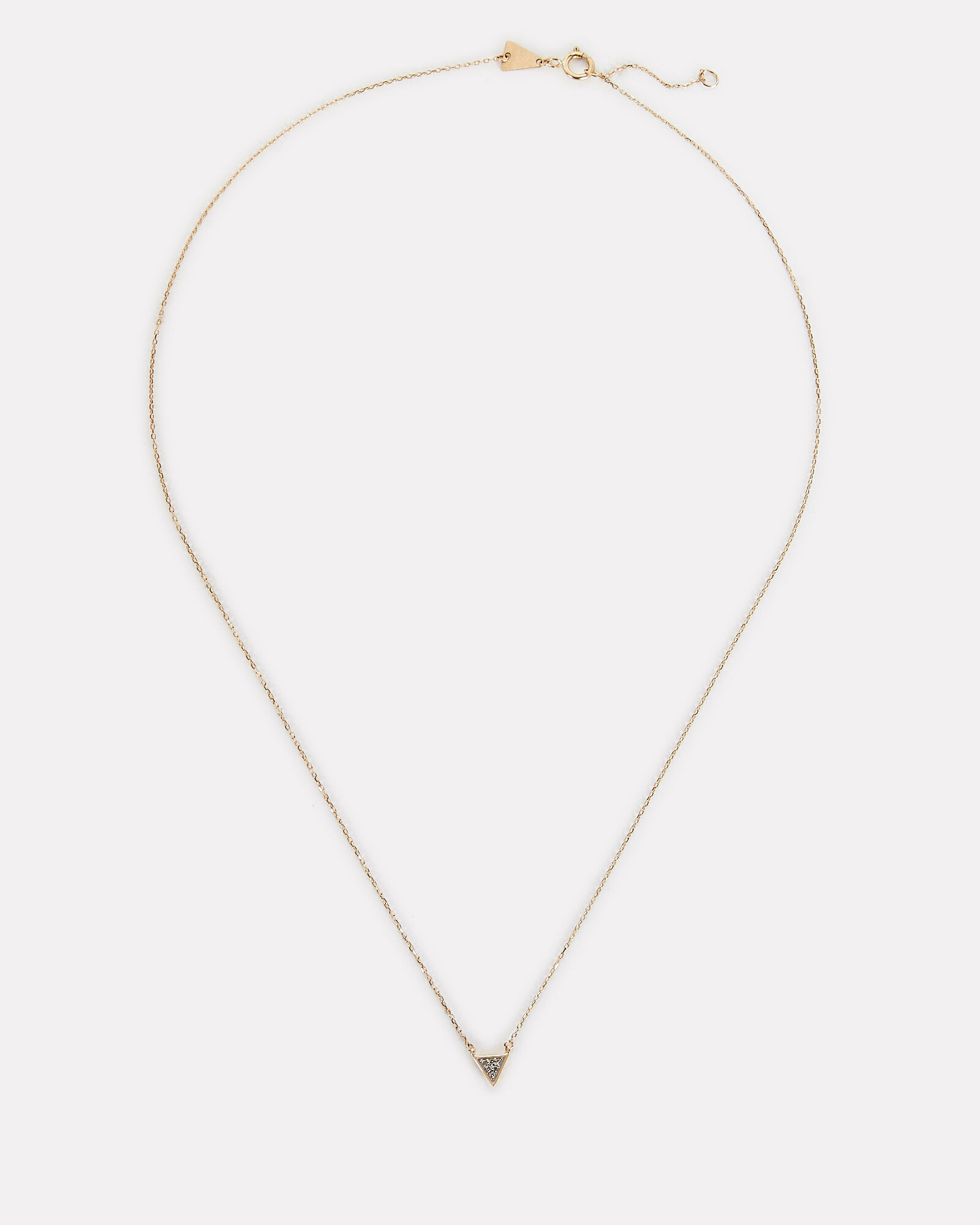 Super Tiny Pavé Triangle Necklace, GOLD, hi-res