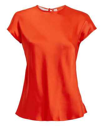 Orange-Red Satin Cap Sleeve Top, RED, hi-res