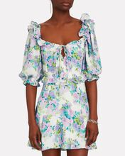 Imogen Floral Puff Sleeve Mini Dress, PURPLE/BLUE/GREEN, hi-res