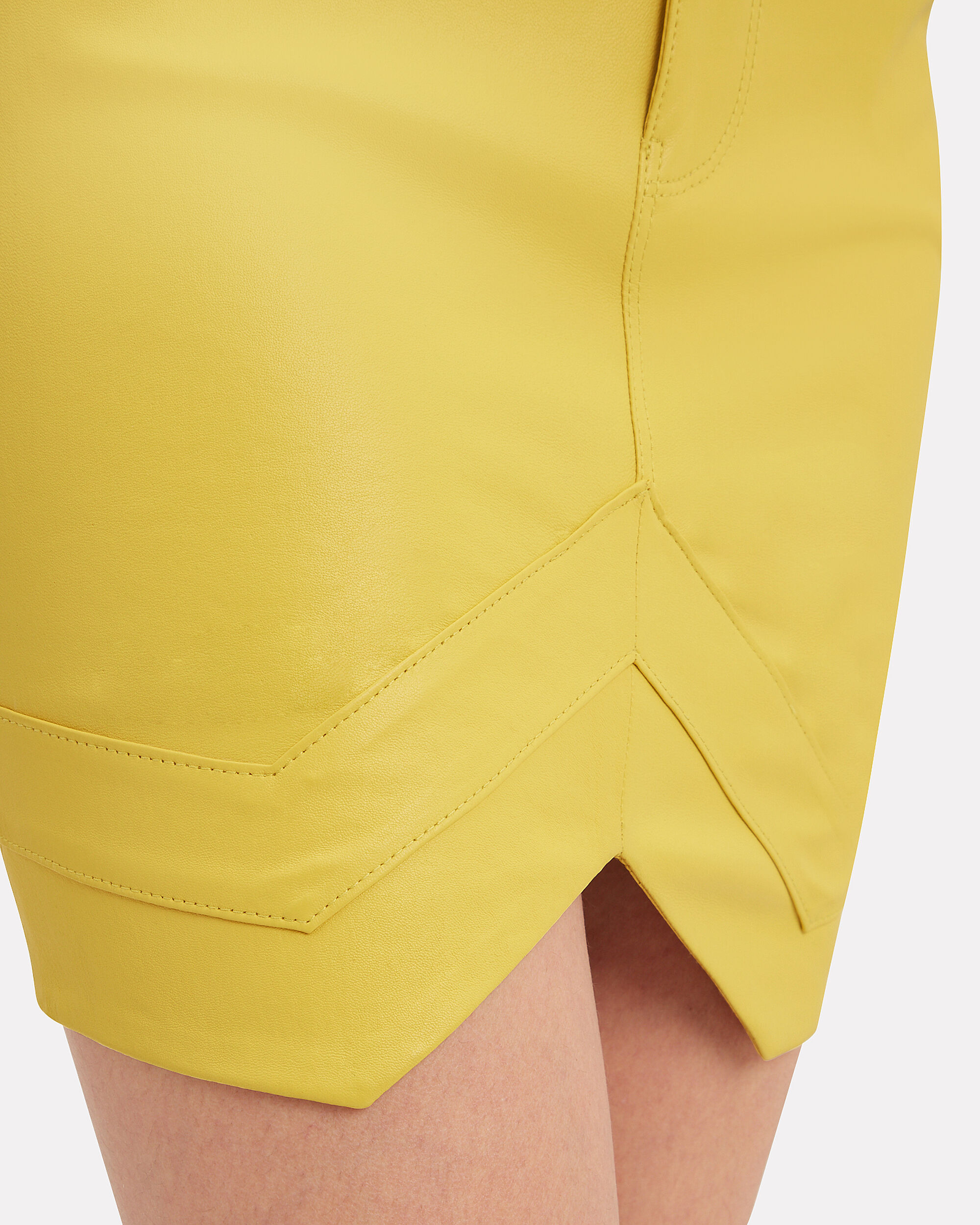 Tempest Leather Mini Skirt, ELECTRIC YELLOW, hi-res