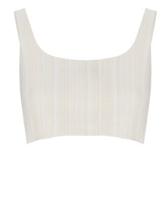 Addy Linen-Blend Crop Top, IVORY, hi-res
