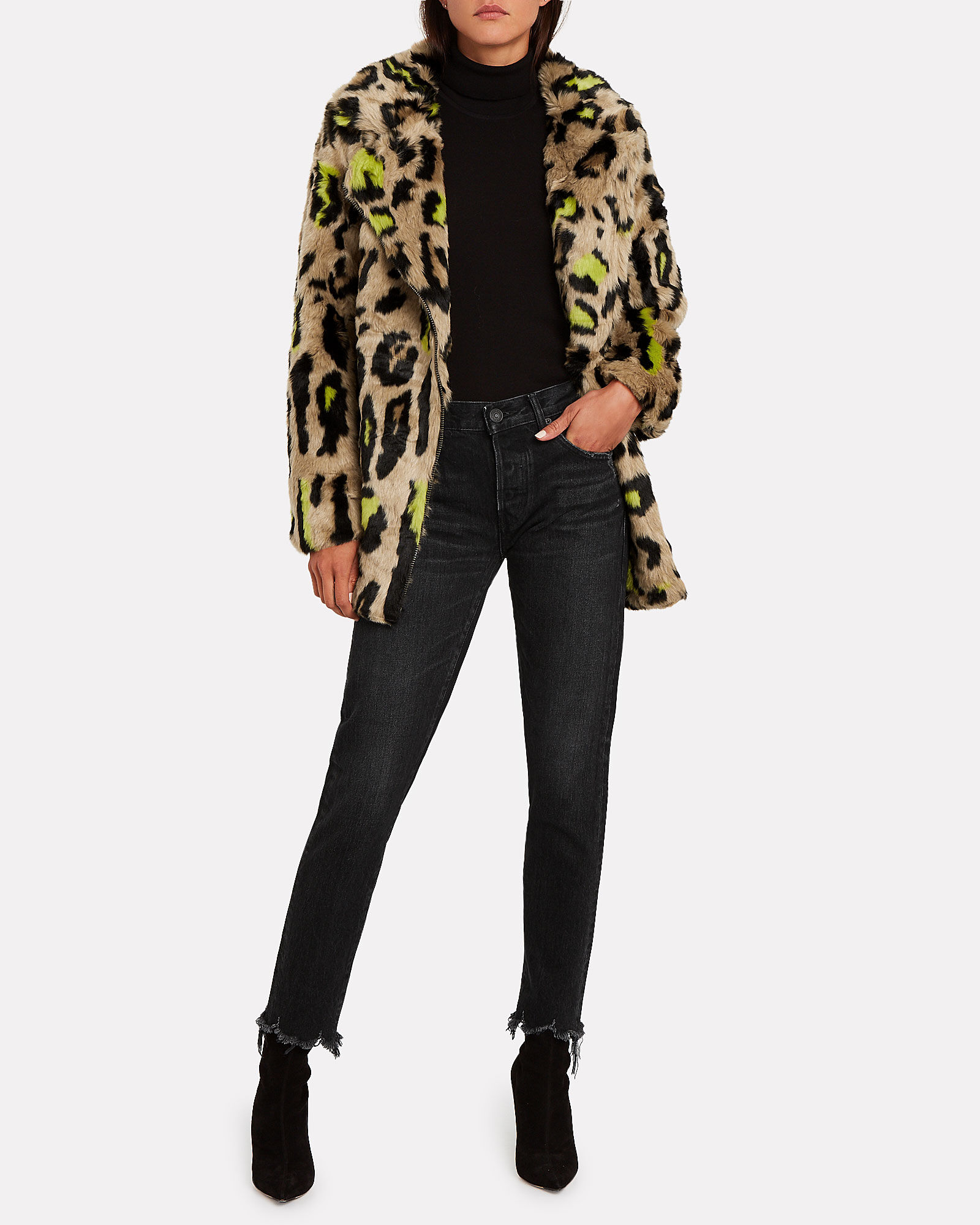 Chloe Leopard Faux Fur Coat, MULTI, hi-res