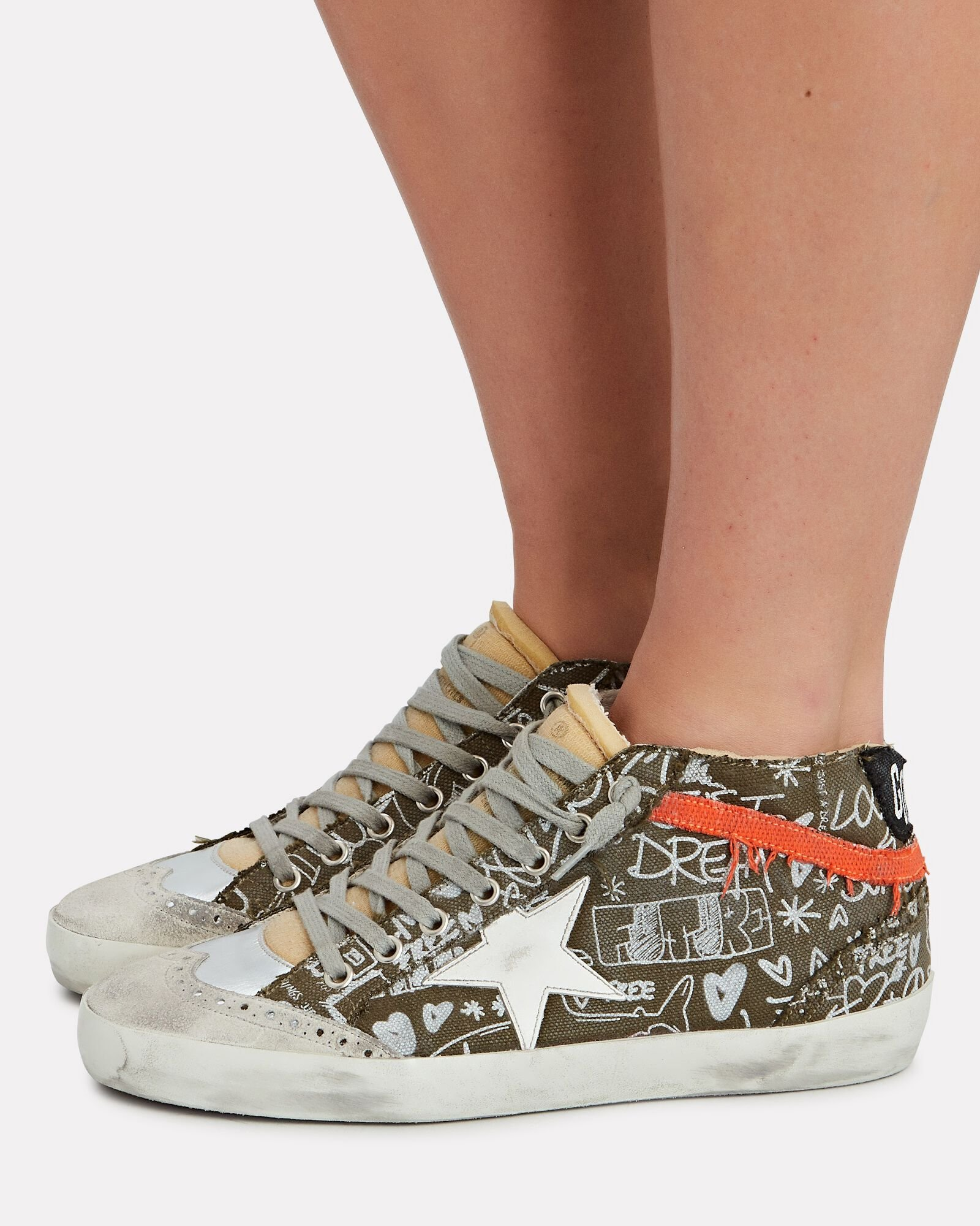 Mid Star Graffiti Canvas Sneakers, OLIVE, hi-res
