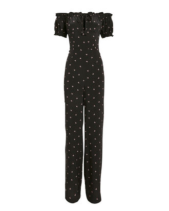 Annabel Silk Off Shoulder Jumpsuit, BLACK FLORAL, hi-res