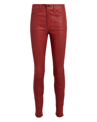 Le High Skinny Leather Pants, RUST, hi-res