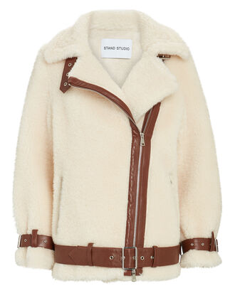 Colleen Oversized Teddy Moto Jacket, IVORY, hi-res