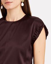 Ruched Silk Satin Top, RED-DRK, hi-res