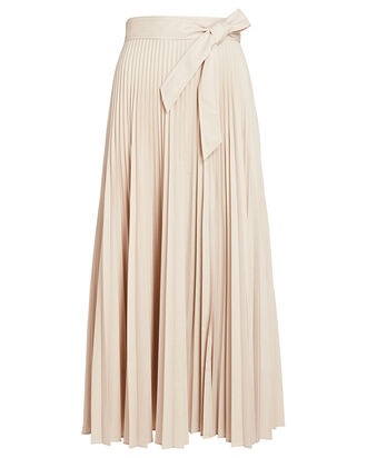 Estelle Pleated Midi Skirt, BEIGE, hi-res