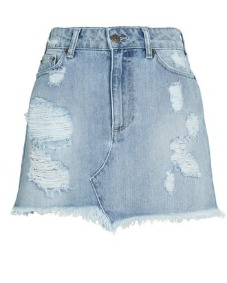 Alli Distressed Denim Mini Skirt, LAKEWOOD, hi-res