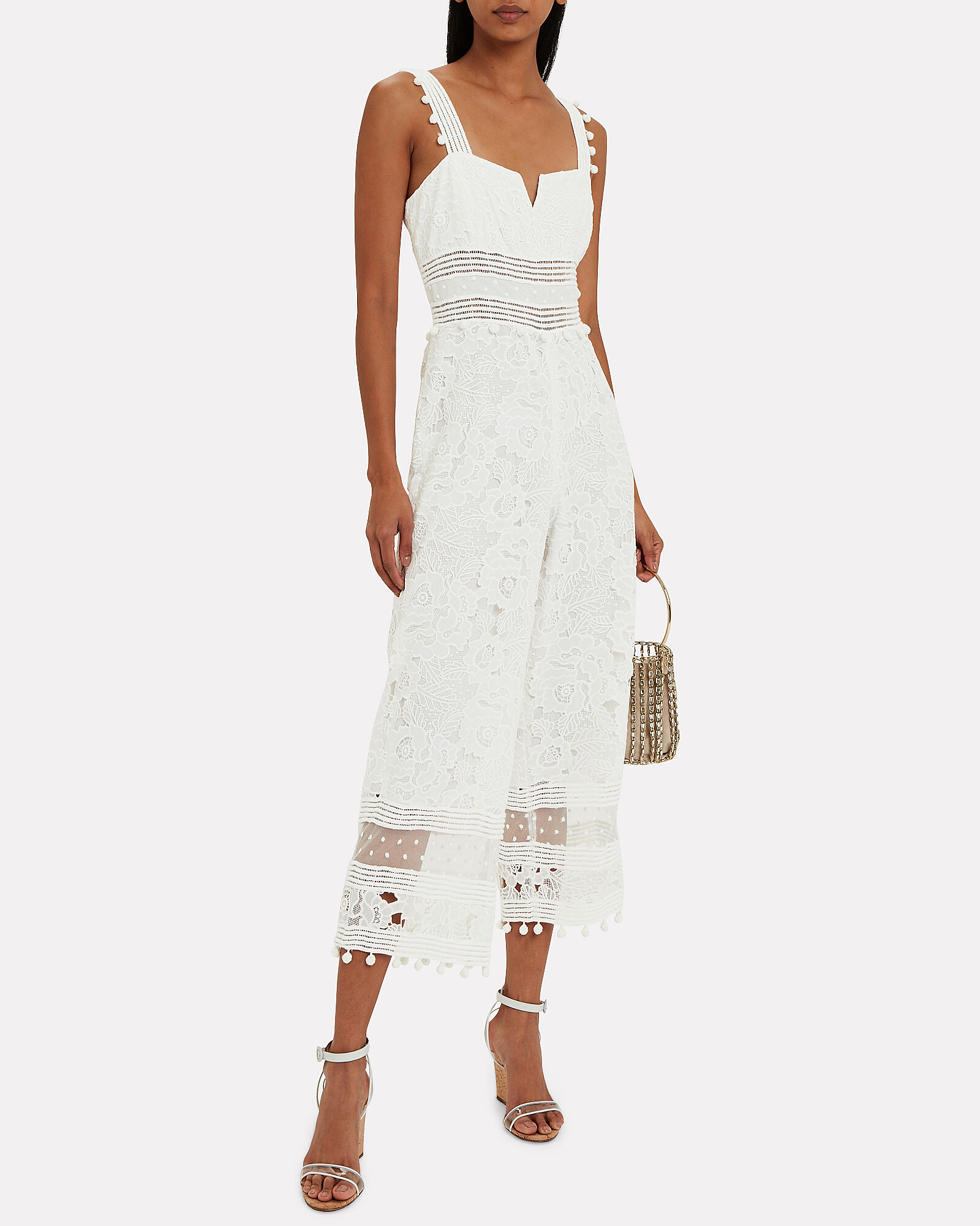 Gabri Lace Sleeveless Jumpsuit, WHITE, hi-res