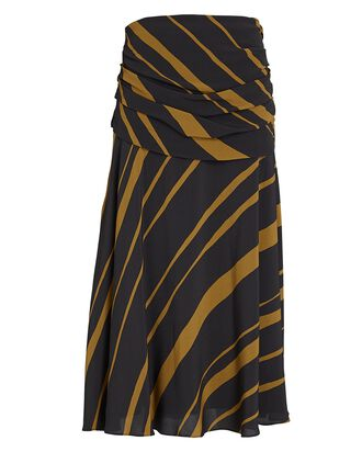 Printed Crepe Midi Skirt, BROWN, hi-res