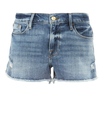 Le Cutoff Distressed Shorts, MEDIUM WASH DENIM, hi-res