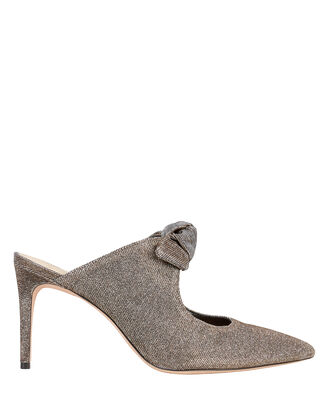 Evelyn Bow Lurex Mules, GUNMETAL, hi-res