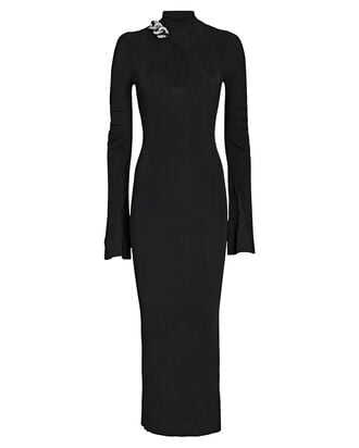 Split Cuff Turtleneck Midi Dress, BLACK, hi-res