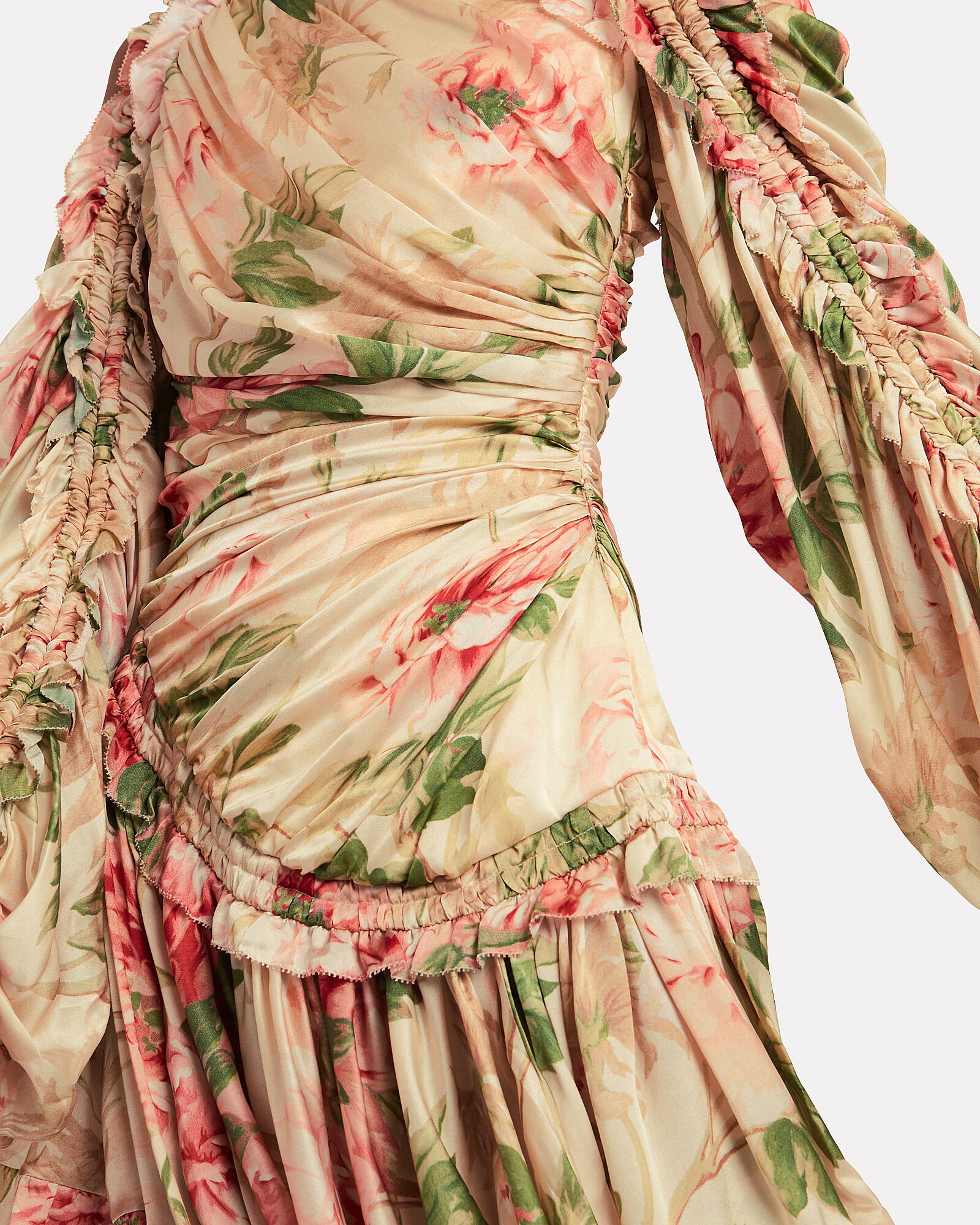 Espionage Drawn Peony Draped Dress, MULTI, hi-res